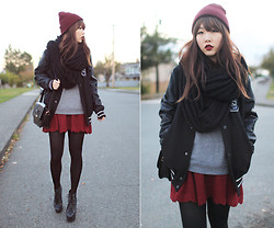 Ivy Xu - American Apparel Beanie, H&M Jacket, Anthropologie Knit Skirt - The dawn