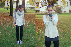 Kate K - Volcom Jacke, H&M Scarf, Nike Shoes - Mint & Grey