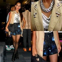 KIM NIEVES - Anni Albers Washer Necklace, H&M Printed White Top, Studded Beige Vest, Mango Studded Clutch, Galaxy Shorts, Studded Booties - Studded Galaxy - Philippine Fashion Week S/S 2013 Day 2