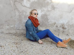 Diana Vioget - Ralph Lauren Round Glasses, H&M Vintage Orange Scarf, Levi's® Hippie Jacket, Brandy And Melville Blue Jeans, Clarks Orange - Here or there.