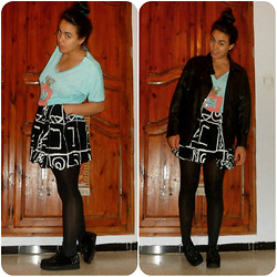 Corona Australis - C&A Leather Jacket, Julie Top, Vintage Skater Skirt, Core Creepers <3 - Look who's laughin' now ...