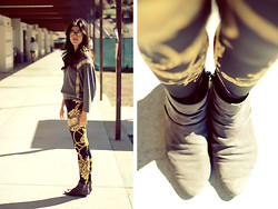 Ashley Overbeek - Thrifted Sweater, Forever 21 Tights, Thrifted Shoes - Black and Gold