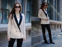 Ksusha Handukova - Max&Co. Sunglasses, Mango Smoking Masculine Cut Blazer, Zara Flat Front Pants, Carlo Pazolini Masculine Shoes - It's impossible to become another person in a moment
