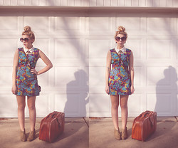 Laura Jude Hathaway - Vintage Sunglasses, Forever 21 Collared Shirt, Vintage Dress, Frontrowshop Eagle Necklace, Chelsea Crew Booties - Here Comes My Baby