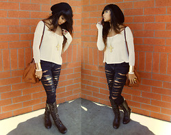 Samantha San Antonio - Slashed Jeggings, Lace Up Combat Boots, Thrifted Long Sleeve, H&M Beanie, Cole Haan Messenger Bag, Forever 21 Cross Necklace, Forever 21 Gold Cuff - Maybe cause I'm a dreamer and sleep is the cousin of death.