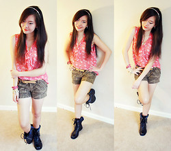 Maricris Lucero - Black Combat Boots, Brown Printed Shorts, Forever 21 Orange Printed Top - Lovely white butterfly..