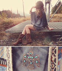 Ashlei Louise . - Shop Lately The Faltering Bird Necklace, Crash & Burn Apparel Poncho, Durango Boots, Angel Court Skinny Tack Of Bracelets, Vanessa Mooney Beaded Bracelets, Indressme Arrow Ring - Faltering against the autumn sky