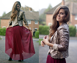 Kylie Lawson - Jarlo Sequin Jacket, Love Maxi Skirt - Oxblood Maxi Skirt + Party Ticket giveaway on my blog