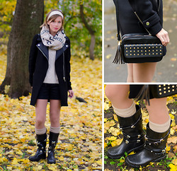 Anastasia U. - Asos Studded Bag, Topshop Wellington Boots, Zara Biker Coat - Rainy Days