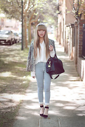 Willabelle Ong - Snake Print Blazer, Striped High Waist Pants - Blonde
