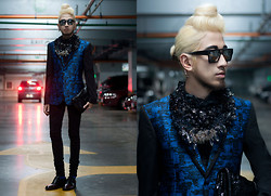 Andre Judd - Melchor Guinto Sapphire Blue Silk Abstract Brocade Blazer, Miadore By Yek Balingit Navy And Clear Crystal Neckpiece, Two Tone Laceups, Givenchy Steel Curve Earrring, Givenchy Patent Black Clutch With Croc Emboss - BLUE STEEL