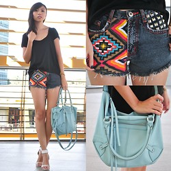 Gillian Uang - Human Black Caped Top, Bestfinds Thriftshop Printed Daisy Dukes, H&M Mint Blue Bag, Céline White Heels - Daisy Dukes