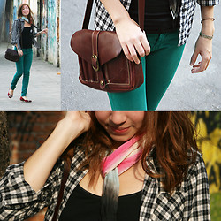 Isa M. - Stradivarius Turquoise Skinny Jeans, Uniqlo Plaid Flannel Shirt, Patricia Nash Leather Shoulder Bag - One.