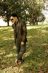 John Cas - Marc By Jacobs Brown Coat, H&M Foldable Shades, Zara Gray Pinstripe Pants, H&M Dark Blue Long Sleeves, Kenneth Cole Brown Loafers - Gangnam Styled