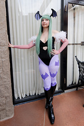 Lauralyn A. - Love Tights (Hand Painted), American Apparel Sheer Tights (Altered), Handmade Bodysuit, Handmade Wings - Morrigan Aensland from Darkstalkers