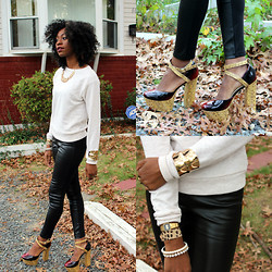 Jennifer W - American Apparel Unisex Drop Shoulder Sweater, Forever 21 Leather Leggings - FALL for me...