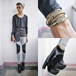 Jeroy Balmores - Lanma Leggings, Impulse Co Envelope Clutch, Asianvogue Shop Harness Booties - Leather Accents