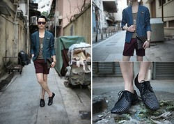 Edward Poon - Mykita Sunglasses, 5cm Denim Blazer, Izzue Star Shirt, H&M Burgundy Shorts, Leopard Pocket Square, Zara Studded Clutch, Zara Studded Shoes - Studded!!<3