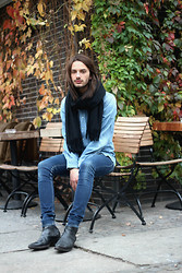 Dustin H. - Acne Studios Scarf, H&M Shirt, Cheap Monday Jeans, Opening Ceremony Shoes, H&M Hoodie, The Kooples Jacket - Double Denim