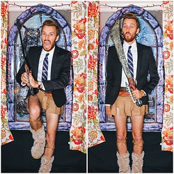 Stay Classic - H&M Blazer, H&M Shirt, J. Crew Tie, Goodwill Barbarian Boots, Diy Loincloth, Spirit Halloween Sword - Conan the Barbarian