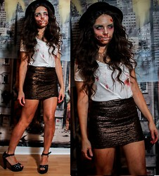 Daniela Ramirez - Forever 21 Hat, Target Simple White Tee, Our Prince Of Peace Skirt, Pink And Pepper Shoes - Halloween- Zombie Birthday party