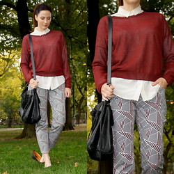 Yvette H - Country Road Silk Button Down, Theory Sweater, Theory Graphic Print Pant, Balenciaga 'Velo' Bag - Central Park NYC