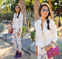 Annabelle Fleur - H&M Shirt, Minusey Jeans, Pink & Pepper Wedge Sneakers, Rebecca Minkoff Bag - Wild for Violet