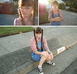 Lily L - Vintage 70s Plaid Shirt, Vintage Denim Cut Overalls That I Cut Off, Vintage 60s Cat Eye Glasses, Converse All Stars - The Wonder Years