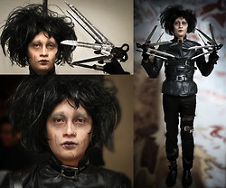 Lui C. - Messed Up Wig, Diy Scissorhands, Leather Jacket, 2nd Hand Belts, Thrifted Skinny Pants, C/O My Girlfriend Edward Scissorhands Make Up - Love Me, I am Not a Freak... Edward Scissorhands