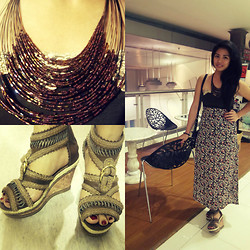Al Jane Chua - Valentino Floral High Waist Skirt, Palawan Beaded Bib, Rosyrosy Ethnic Wedge Shoes - Went to Uploaded Concert