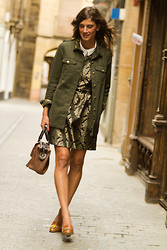 Belén @balamoda - Zara Jacket, Suite Blanco Dress, Mellow Yellow Shoes - Military barroque
