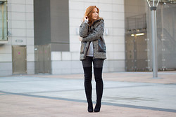 Toni Brown - Miss Selfridge Thigh High Boots, Gertrude Coat, H&M Grey Sweater, H&M Grey Jeans - Those never ending boots