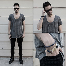 Reinaldo Irizarry - Thrifted Shirt, Hot Topic Jeans, Ralph Lauren Boots, Marc By Jacobs Bracelet, Marc By Jacobs Sunglasses - THE NEEDLE AND THE THREAD