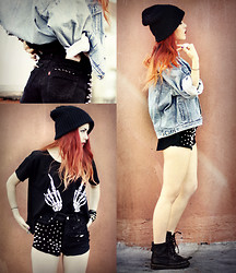 Lua P - Vintage Jacket, Romwe T Shirt, Secondhand Docs - Skeleton City