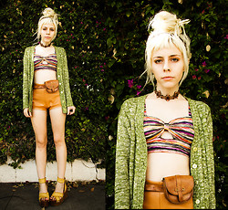 Madeline Pendleton - O Mighty Weekend Shorts, Herej Belt, Santee Alley Top, Shoes, Vintage Choker, Vintage Sweater - Marbled on Marbled