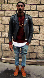 Roger Mbee - Vintage Perfecto, H&M Jean, Red Wing Shoes - Rude boy