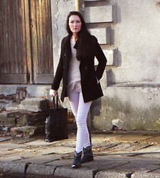 Ilona S - C&A Coat, Atmosphere Sweater, Levi's® Pants, Red Tape Biker Boots, Kapphal Bag - Lilac