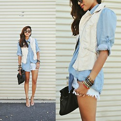 Heliely Bermudez - Zara Frayed Denim Shorts, H&M Leather Vest, Zara Laminated Strapped Heels - Casual Tuesdays