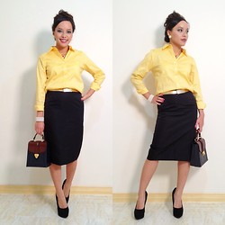 Lily S. - Talbots Button Down Shirt, Vintage Gold Belt, Banana Republic Silk Pencil Skirt, Diva Lounge Platform Heels, Vintage Color Block Satchel, Vintage Earrings - Yellow Mode