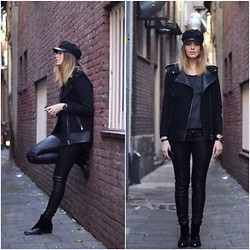 MODE ROSA - Topshop Boots, Supertrash Leather Pants, Zara Jacket, Urban Outfitters Cap - BLACK & BEAUTIFUL