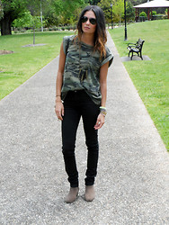 Lisa O - Topshop Tee, Cheap Monday Jeans, Spell Designs Necklace, Ray Ban Sunglasses, Isabel Marant Boots - Combat