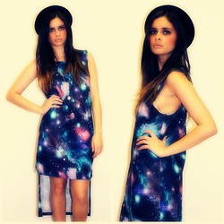 THE LOT ♥ - Self Service Galaxy Print Mullet Dress, The Lot Black Bowler Hat - Cosmic Love ♥