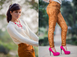 Ekta Sheoran - Pree Brulee Bauble Necklace, Zara Cable Knit Sweater, Brocade Pants, Pink Suede Pumps - Shades of Melody!