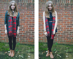 Livvy Newman - Ebay Jacket, Primark Playsuit, Ebay Scarf, Ebay Chelsea Boots - Three queens and broken dreams.