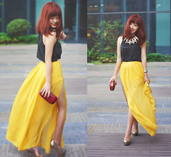 Linh Doan - Linhdoan Silk Maxi Skirt - Black&Yellow