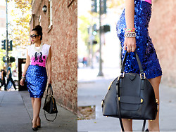 K T Reed - Ktrcollection Sequin Skirt, Olive + Piper Spikes Bracelet - Blue Sparkles