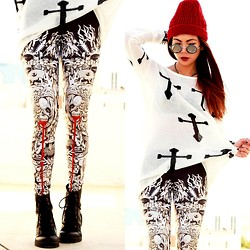 Bernadette F - Round Sunnies, Cross Jumper, Babillonia Leggings - THE HUNGRY GHOST