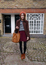 Ella Catliff - Whistles Tweed Coat, French Connection Uk Jumper, Whistles Leather Collar Top, American Apparel Burgundy Skirt, Anya Hindmarch Tan Tote, Topshop Orange Hat, Massimo Dutti Ankle Boots - Autumn Shades