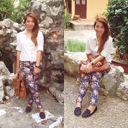 Anne Klein - The Ramp Floral Pants, Giordano Button Down, Parisian Studded Suede Flats, Satchel Bag - Stones and Garden