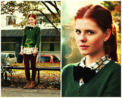 Evamaria K - Gina Tricot Shirt, Ecco Boots, Second Hand Sweater - Autumn, I wish you had stayed longer
